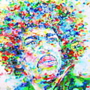 Jimi Hendrix  - Watercolor Portrait.3 Art Print