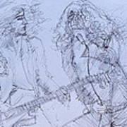 Jimmy Page And Robert Plant Live Concert-pen Portrait Art Print