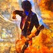 Jimmy Page Playing Guitar With Bow Art Print