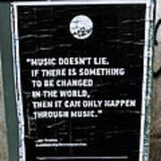 Jimy Hendrix Music Doesn't Lie Art Print