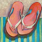 Pink Flip Flops Art Print