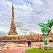 Joan Of Arc And The Eiffel Tower Art Print