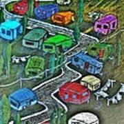 Joes Happy Trailer Park Art Print by Joseph Hawkins