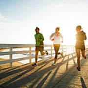 Jogging Along The Coast Art Print