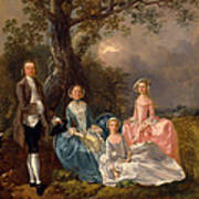 John And Ann Gravenor With Their Daughters Art Print