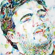 John Belushi Smoking - Watercolor Portrait Art Print