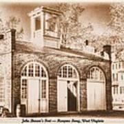 John Browns Fort - Harpers Ferry West Virginia - Modern Day Sepia Art Print by Michael Mazaika