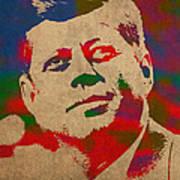 John F Kennedy Jfk Watercolor Portrait On Worn Distressed Canvas Print by Design Turnpike