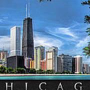 John Hancock Chicago Skyline Panorama Poster Art Print