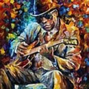 John Lee Hooker - Palette Knife Oil Painting On Canvas By Leonid Afremov Art Print