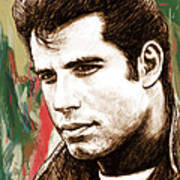 John Travolta - Stylised Drawing Art Poster Art Print