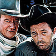 John Wayne And Robert Mitchum El Dorado 1967 Publicity Photo Old Tucson Arizona 1967-2012 Art Print