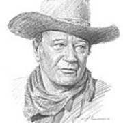 John Wayne Pencil Portrait Art Print
