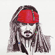 Johnny Depp As Jack Sparrow Art Print by Martin Howard