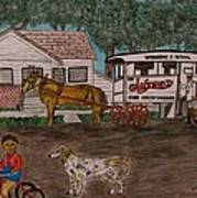 Johnsons Milk Wagon Pulled By A Horse  Art Print