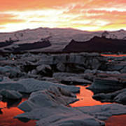 Jokulsarlon Lagoon At Sunset Art Print