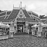 Jolly Holiday Cafe Main Street Disneyland Bw Art Print