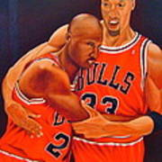 Jordan And Pippen Art Print