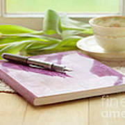 Journal And Coffee Art Print by Kay Pickens