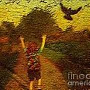 Joyful Bird Chase Art Print