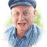 Joyful Grandfather Watercolor Portrait  Art Print