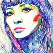 Juliette Greco - Colored Pens Portrait Art Print