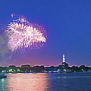 July 4th Fireworks Along The Potomac Print by Steven Barrows