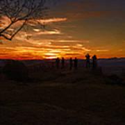Jump Off Rock Sunset Silhouettes Art Print