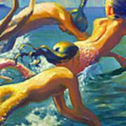 Jumping Mermaids Art Print