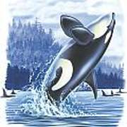 Jumping Orca Art Print by JQ Licensing