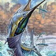 Jumping Sailfish And Flying Fishes Art Print by Terry Fox