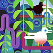 Jungle Vector Illustration With Birds Art Print