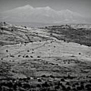 Juniper Hills To Snowy Arctic Peaks Black And White Art Print