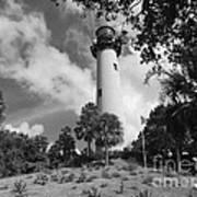 Jupiter Inler Lighthouse In Black And White Art Print