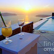 Just Before Sunset In Santorini Art Print