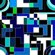 Just Colors And Lines Blue Art Print