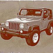 Justjeepn's 2005 Jeep Wrangler Rubicon Car Art Sketch Poster Art Print