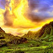 Kahana Valley Sunset Art Print