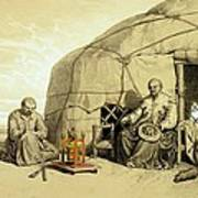 Kalmuks With A Prayer Wheel, Siberia Art Print