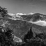 Kanchenjunga Monochrome Art Print