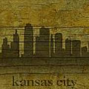 Kansas City Missouri City Skyline Silhouette Distressed On Worn Peeling Wood Art Print