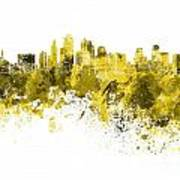 Kansas City Skyline In Yellow Watercolor On White Background Art Print