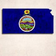 Kansas Map Art With Flag Design Art Print