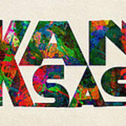 Kansas Typographic Watercolor Map Art Print