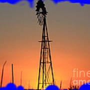 Kansas Windmill Framed Orange Silhouette In Blue Art Print
