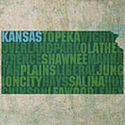 Kansas Word Art State Map On Canvas Art Print