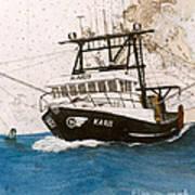 Karis Trawl Fishing Boat Nautical Chart Art Art Print
