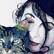 Kate And Her Cat Art Print by Paul Lovering