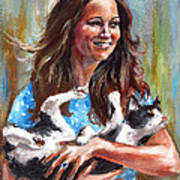 Kate Middleton Duchess Of Cambridge And Her Royal Baby Cat Art Print