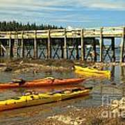 Kayaks By The Pier Art Print